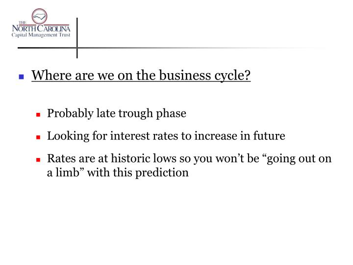 Where are we on the business cycle?