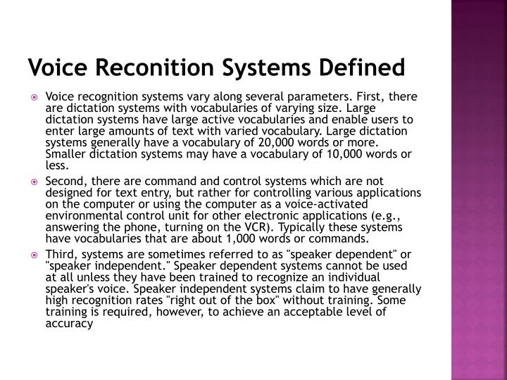 Voice Reconition Systems Defined