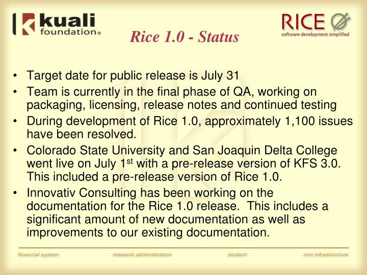 Rice 1.0 - Status