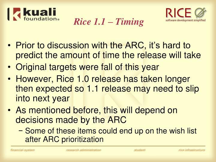 Rice 1.1 – Timing