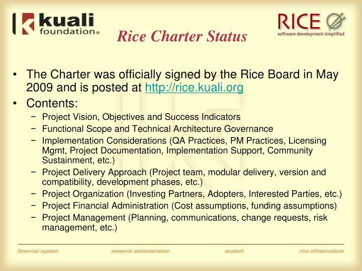 Rice charter status