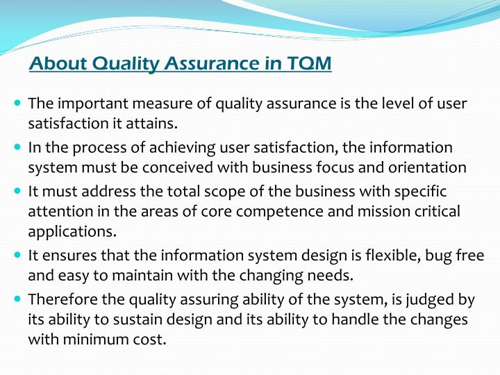 About Quality Assurance in TQM