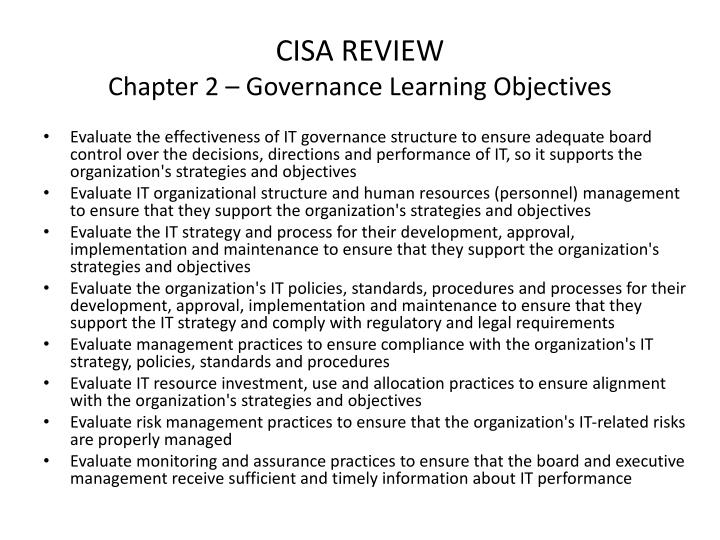 Cisa review chapter 2 governance learning objectives