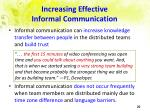 increasing effective informal communication