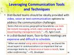 leveraging communication tools and techniques