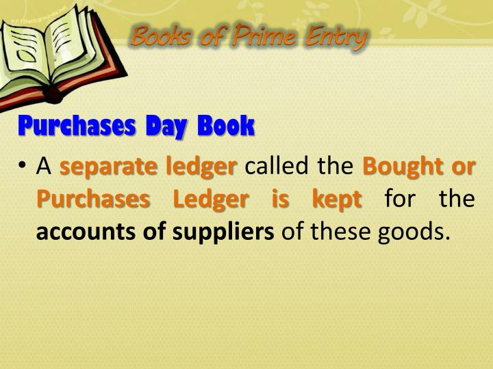 Books of Prime Entry