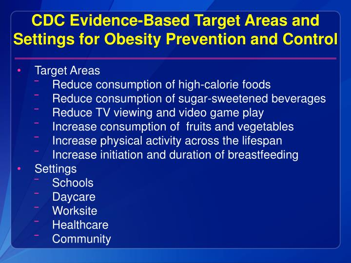 CDC Evidence-Based Target Areas and Settings for Obesity Prevention and Control