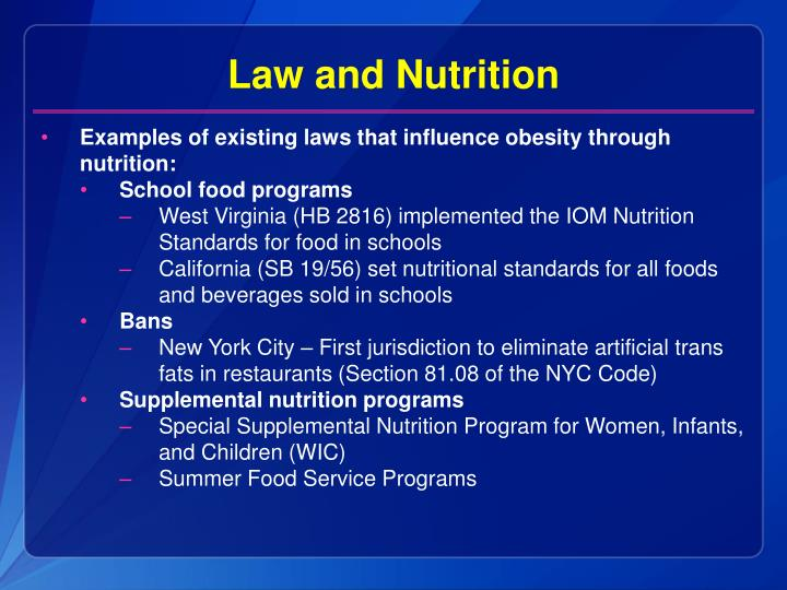Law and Nutrition