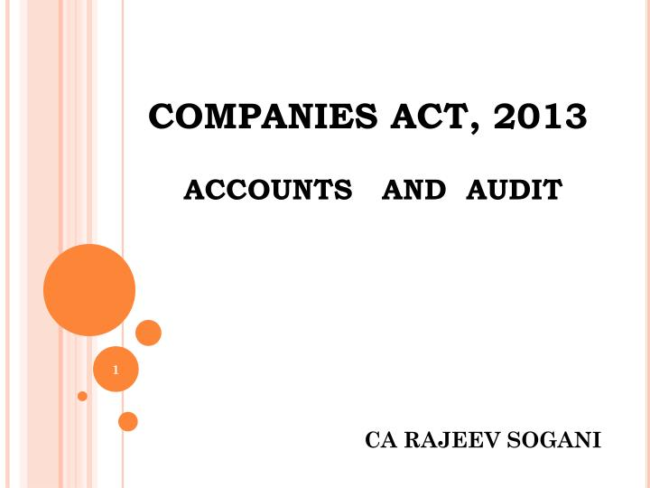 companies act 2013 accounts and audit n.