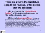 there are 2 ways the legislature spends the revenue or tax dollars that are collected