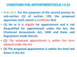 conditions for appointment rule 10 2