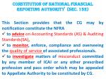 constitution of national financial reporting authority sec 132
