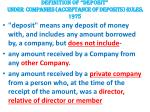 definition of deposit under companies acceptance of deposits rules 1975