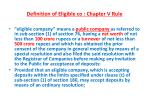 definition of eligible co chapter v rule