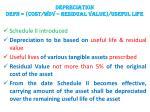 depreciation depn cost wdv residual value useful life