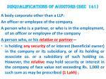 disqualifications of auditors sec 141