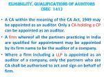 eligibility qualifications of auditors sec 141