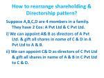 how to rearrange shareholding directorship pattern