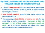 private ltd companies having turnover upto 60 lakhs should be converted to llp1