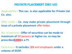 private placement sec 42