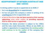 reappointment of retiring auditor at agm sec 139 9