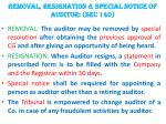 removal resignation special notice of auditor sec 140