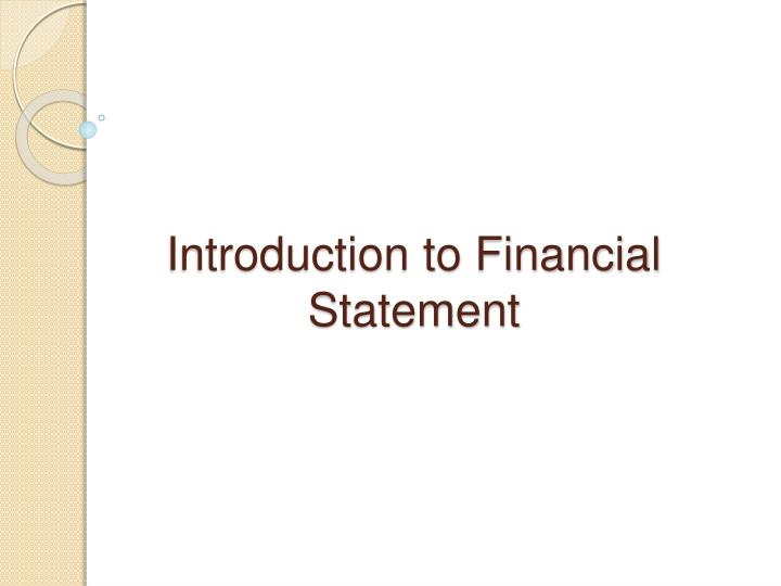 introduction to financial statement n.