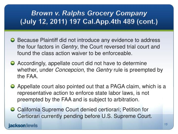 Brown v. Ralphs Grocery Company