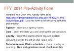 ffy 2014 pre activity form