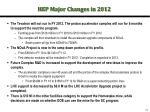 hep major changes in 2012