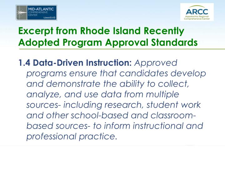 Excerpt from Rhode Island Recently Adopted Program Approval Standards