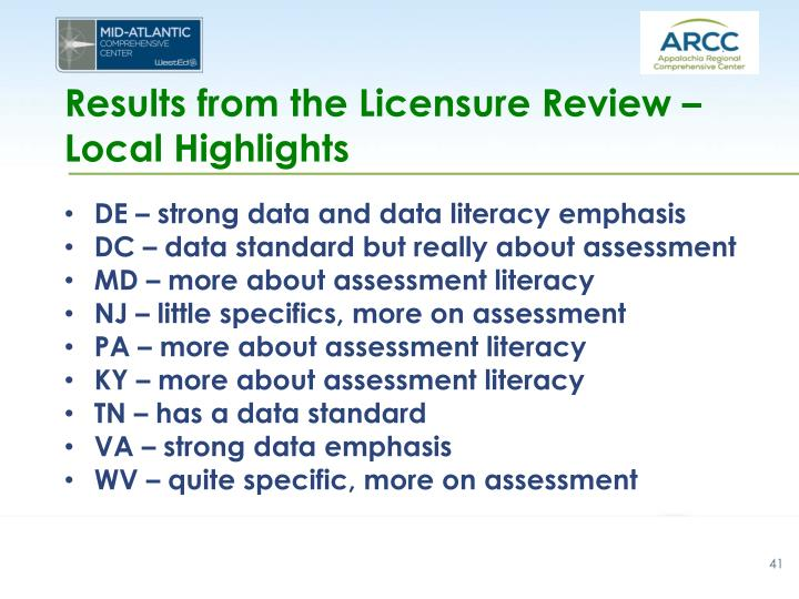 Results from the Licensure Review – Local Highlights