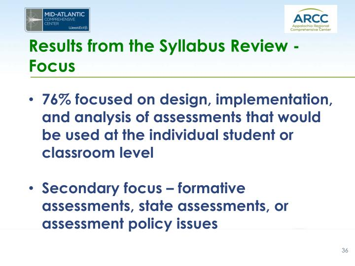 Results from the Syllabus Review - Focus