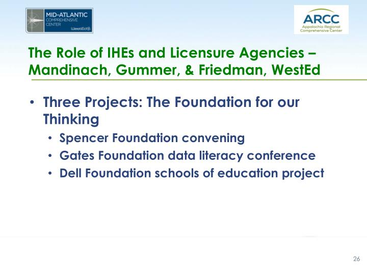 The Role of IHEs and Licensure Agencies – Mandinach, Gummer, & Friedman, WestEd