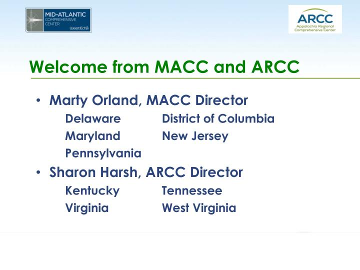 Welcome from macc and arcc