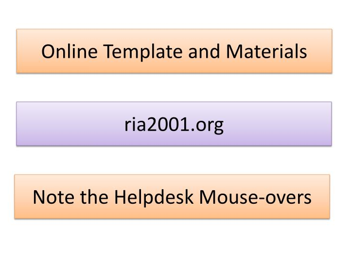 Online Template and Materials