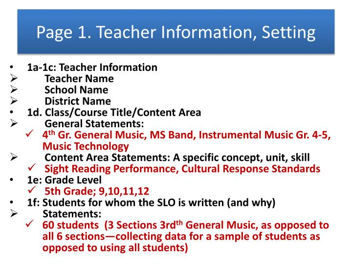 Page 1. Teacher Information, Setting