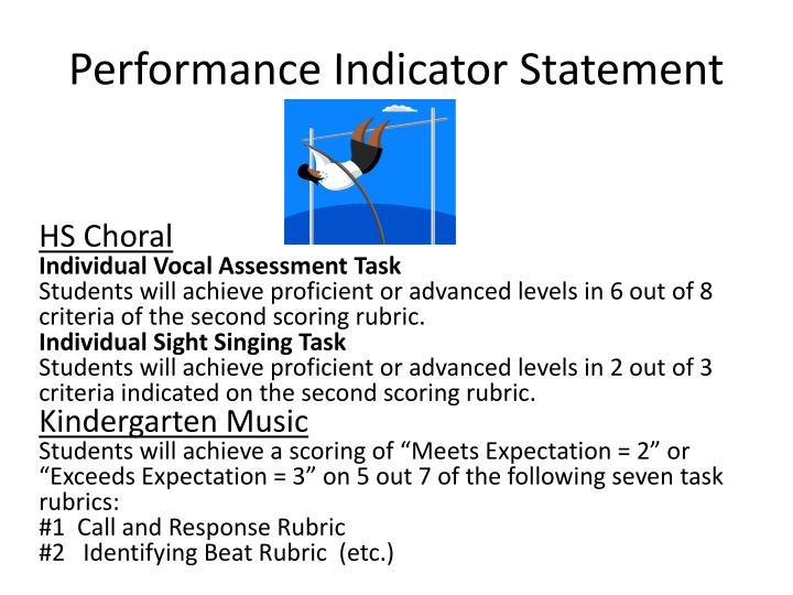 Performance Indicator Statement