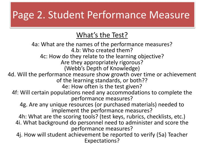 Page 2. Student Performance Measure
