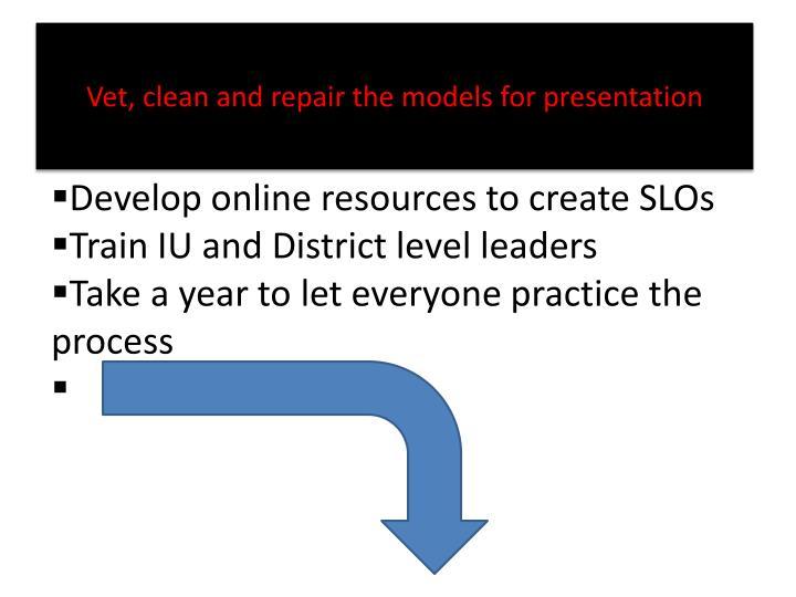 Vet, clean and repair the models for presentation