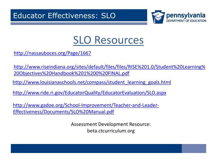 Educator Effectiveness: SLO