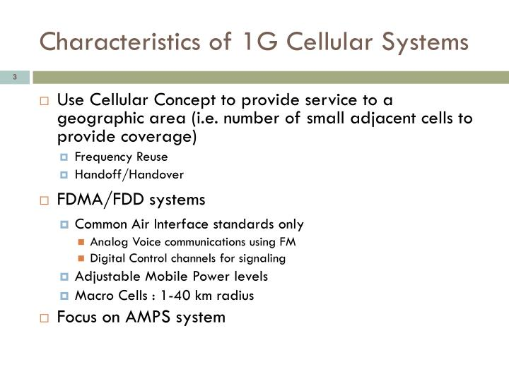Characteristics of 1g cellular systems