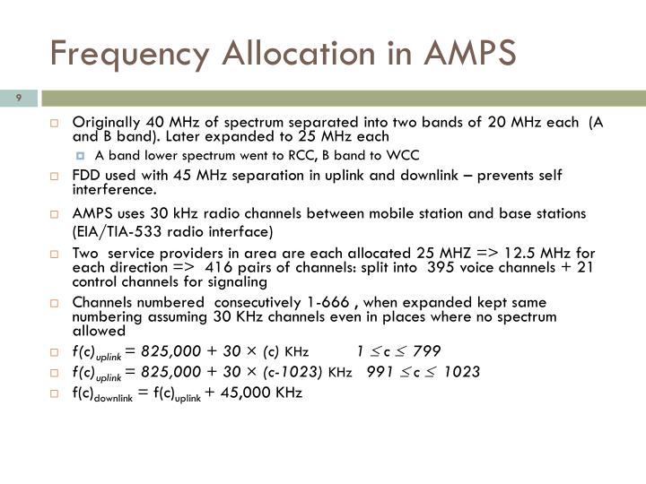 Frequency Allocation in AMPS