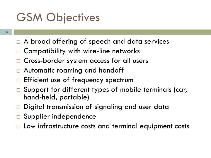 GSM Objectives