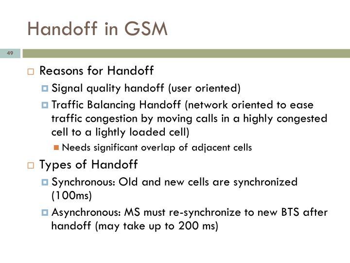 Handoff in GSM