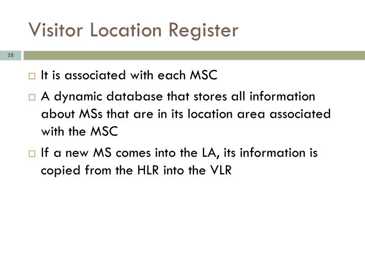 Visitor Location Register