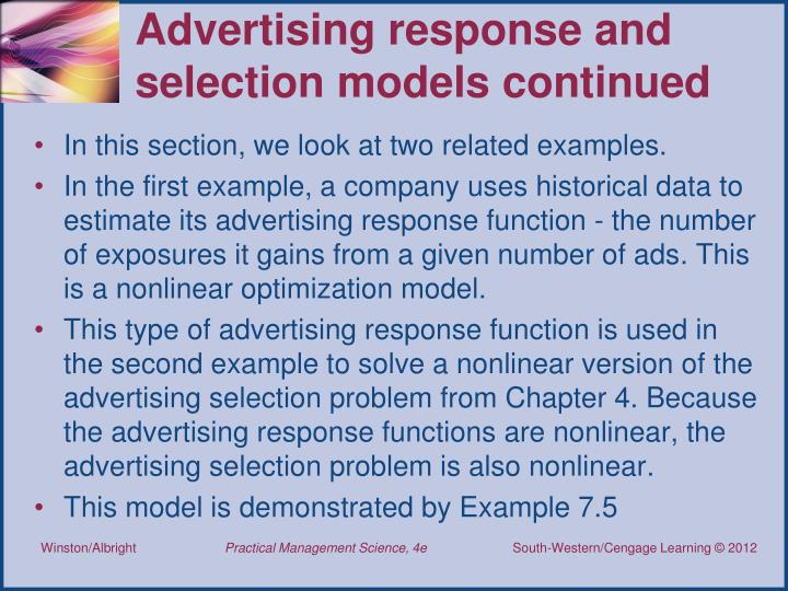 Advertising response and selection models continued