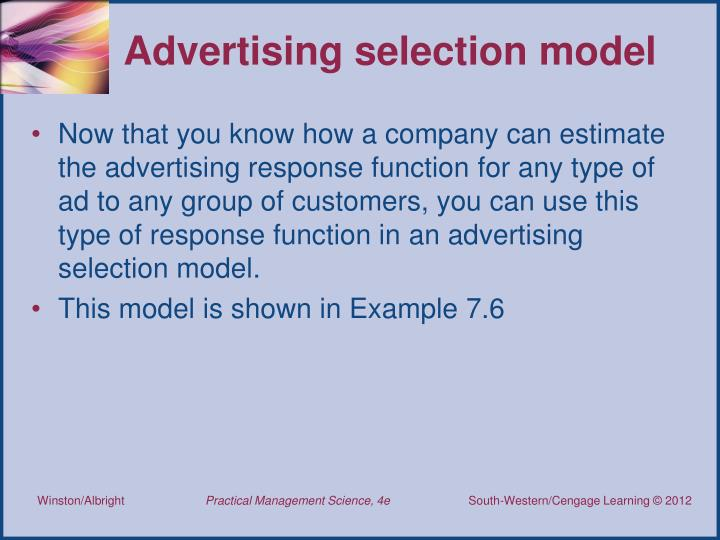 Advertising selection model