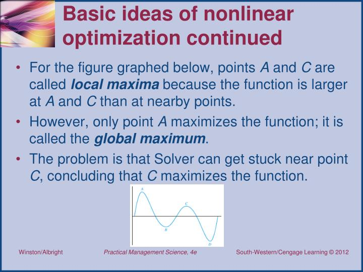 Basic ideas of nonlinear optimization continued