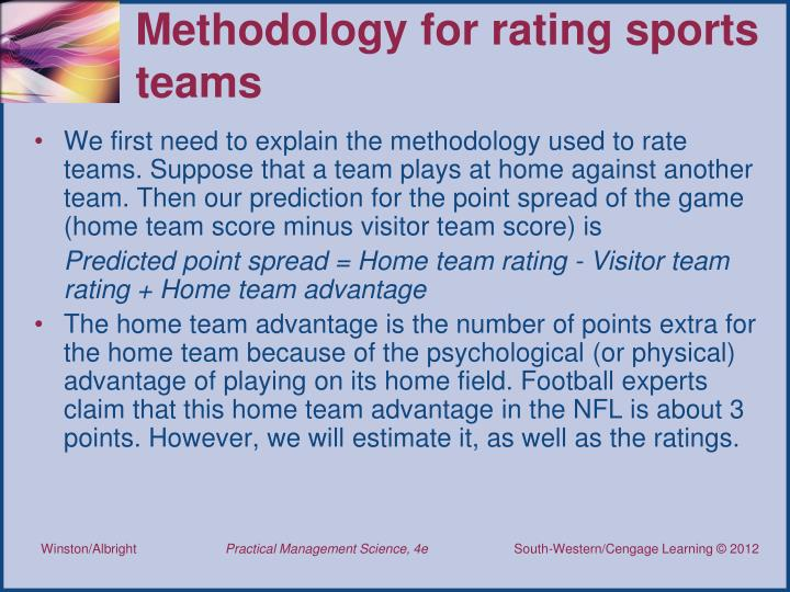 Methodology for rating sports teams
